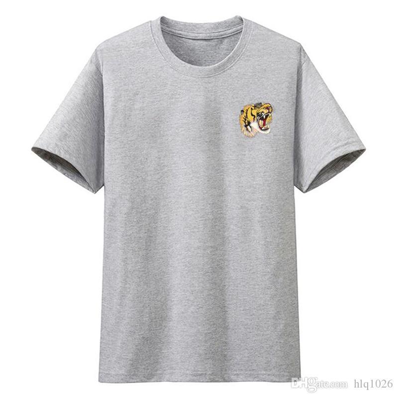 الصيف ماركة الرجال القمصان قصيرة الأكمام النمر رئيس طباعة المحملة بلايز عارضة ماركة الملابس الرجالية