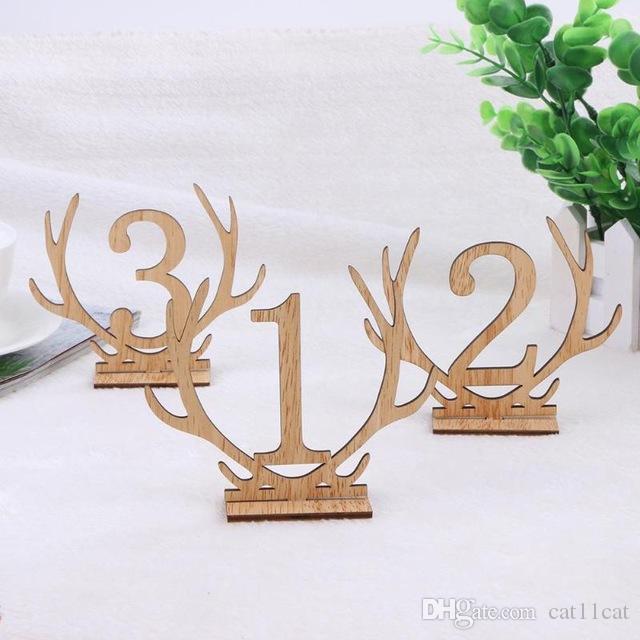 لوازم 20PCS / الكثير 1-20 أرقام خشبية حفل زفاف الزفاف مكان حامل الجدول الرقم الشكل البطاقة الرقمية الديكور مقعد