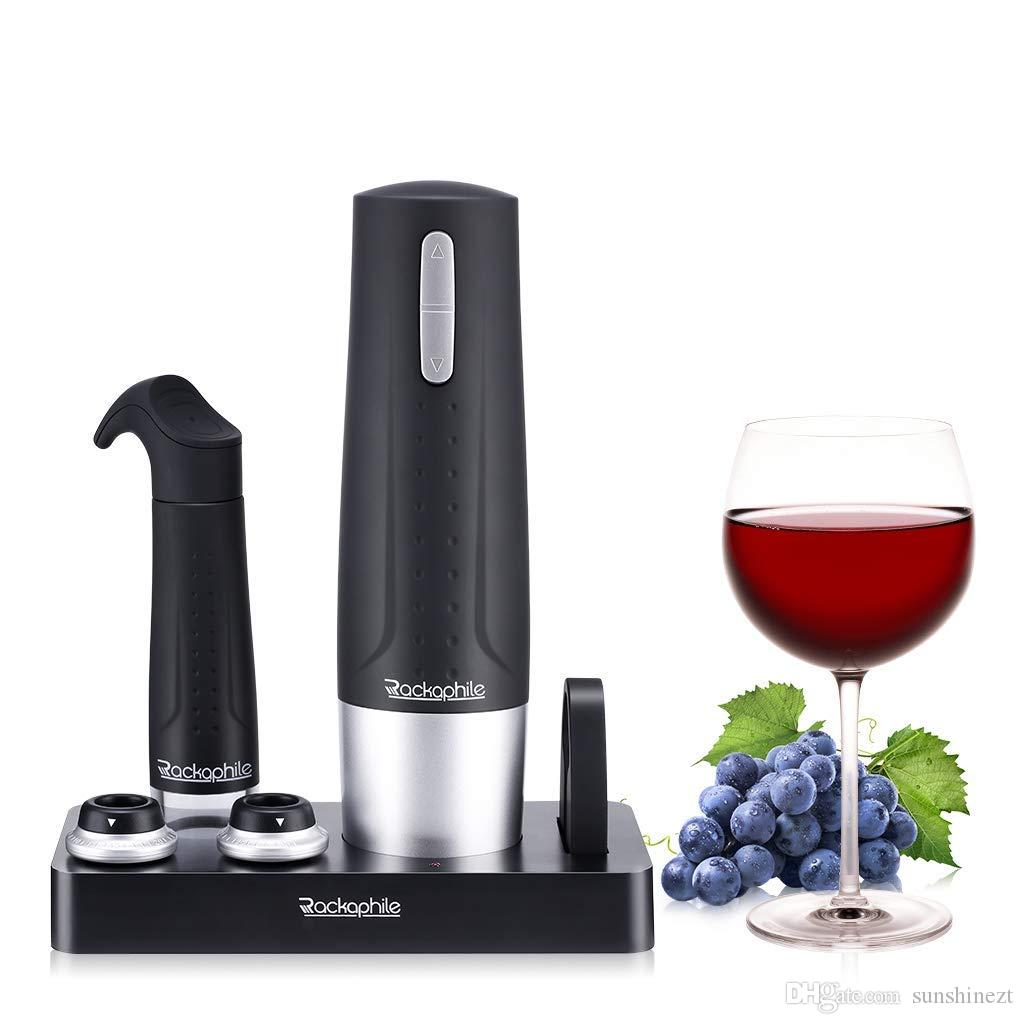 Electric wine opener, rechargeable, cordless wine opener screw, with 2 bottle stopper and wine vacuum pump