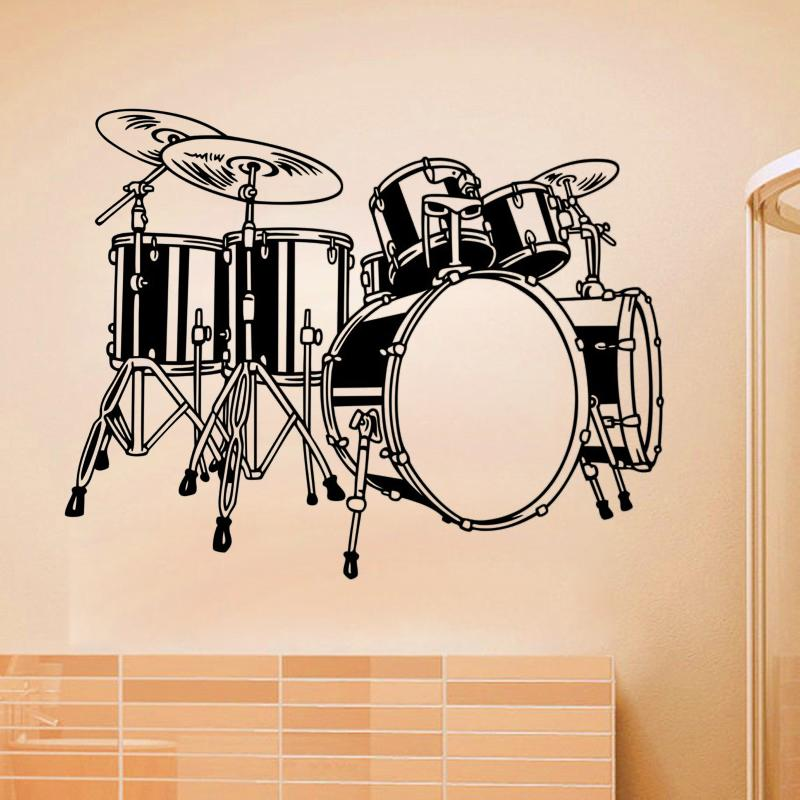 Drum Set Wall Sticker Musical Instruments Wall Decal for living room Children Kids Room bedroom home wall decoration