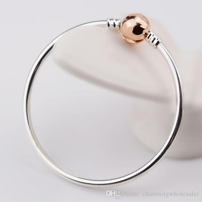 a14f0b820 ... Rose gold plated bracelet bangle pulseira S925 silver fits for pandora  style charms H8 580713 ...