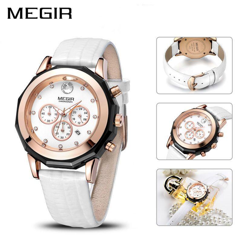 08e5817e460 Compre Megir Marca De Luxo Ladies Watch Cronógrafo Moda Couro Relógio De  Pulso De Quartzo Menina Relógio Para As Mulheres Amantes Relógios Relógio  2042 ...