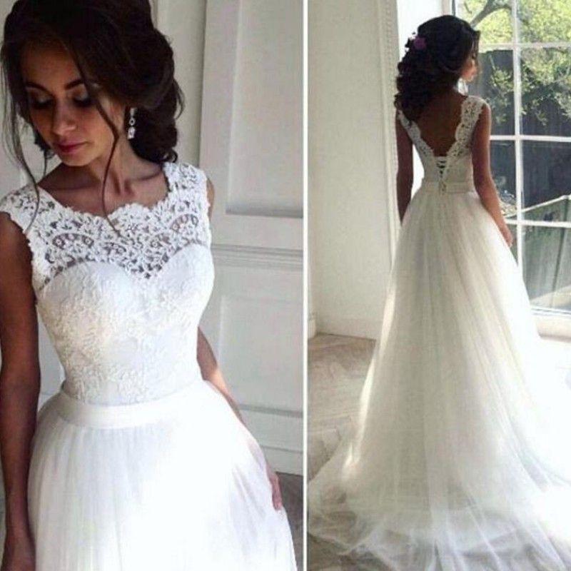 2018 싼 해변 웨딩 드레스 쥬얼 넥 레이스 Appiques 민소매 Tulle 웨딩 드레스 Fashion Chic A-Line Long Bridal Dresses