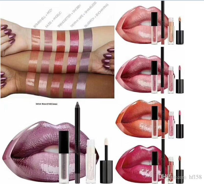 hot newest Beauty makeup Big mouth set of lip pencil +mini liquid lipstick+mini lipgloss 5 colors with retail box dhl free +gift