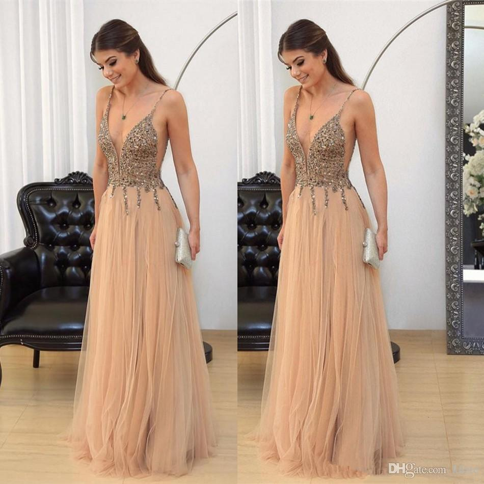 Bling Bling Beads Party Dresses Evening Gown Champagne Tulle A-Line Full Length Gown Formal prom party Guest Dress Sexy V Neck Spaghetti