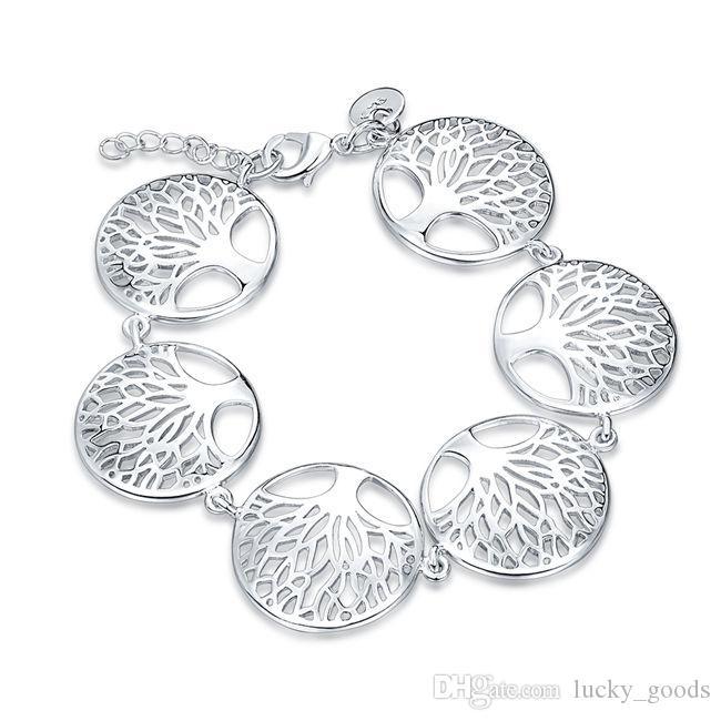 Good A++!Christmas tree Bracelet 925 silver bracelet JSPB558;low price girl women sterling silver plated Charm Bracelets