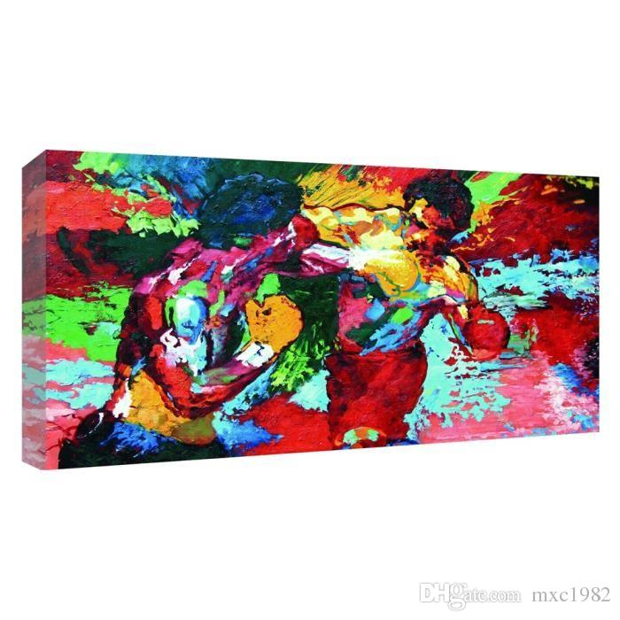 UNFRAMED Modern Oil Painting Rocky vs Apollo - Leroy Neiman Boxing HD Canvas Print Home Decor Living Room Bedroom Wall Pictures Art (Unframe