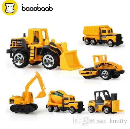BAAOBAAB 6 шт. / компл. мальчик и девочка инженерные автомобили игрушка имитация инерционный Инженерный автомобиль детская игрушка сплав экскаватор подарок