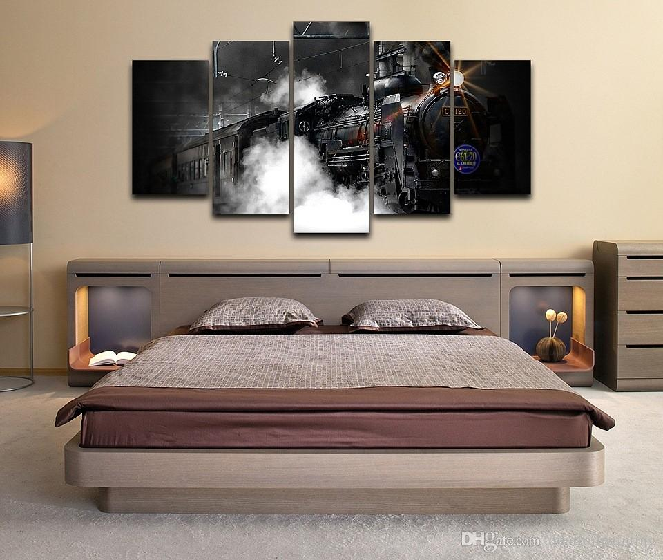 Old Steam Train Vintage Spray Oil Painting Modern Decoration Large 5Panels Giclee Canvas Prints Painting (No Frame)