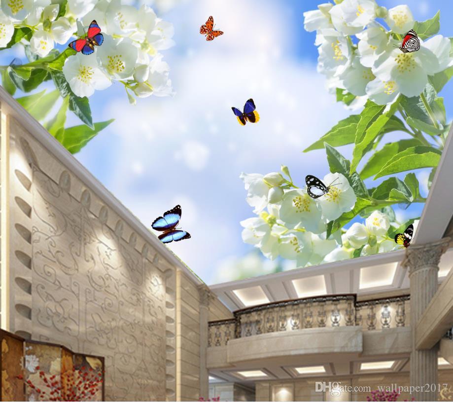 3D ستيريو 3D سقف خلفيات الجداريات الزهور فراشة زخرفة اللوحة 3D الجداريات خلفية للجدران ديكور المنزل
