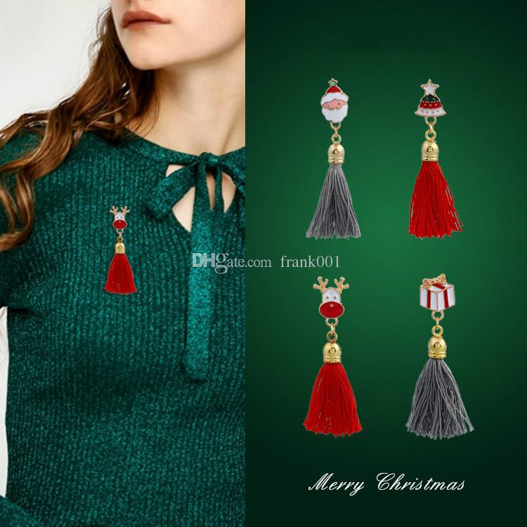 Fashion Colroful Enamel Brooches With Long Tassels Christmas Pin Brooches For Women Men Christmas NewYear Gifts