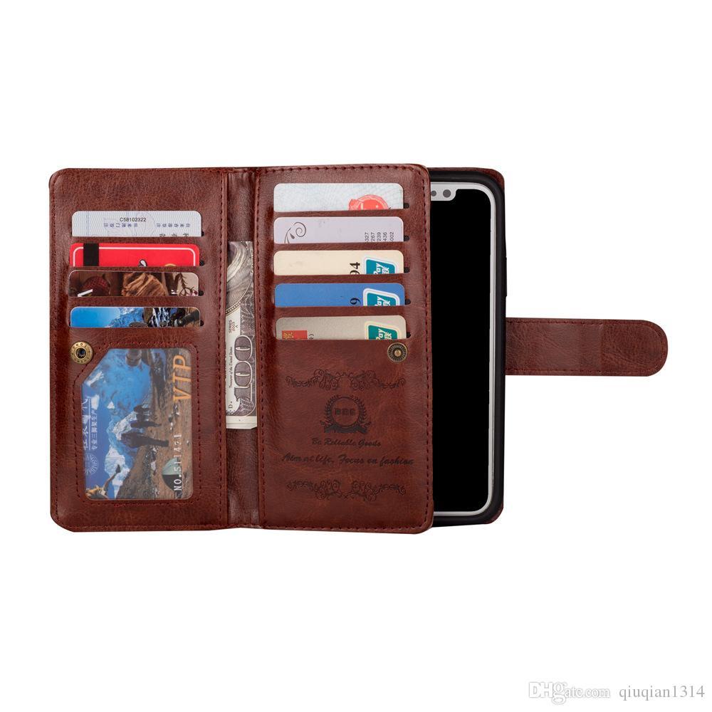 Для iPhone X XR XS Max кожаный бумажник чехол съемный съемный задняя крышка слот для карт флип чехол для iPhone 8 6s Plus