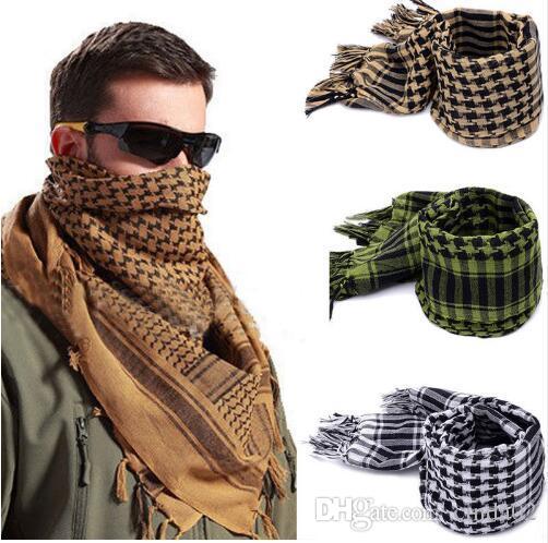 Nuovo leggero nappa araba Deserto Shemagh Kefiah dell'involucro della sciarpa Degno Controllato Uomini Silenziatori