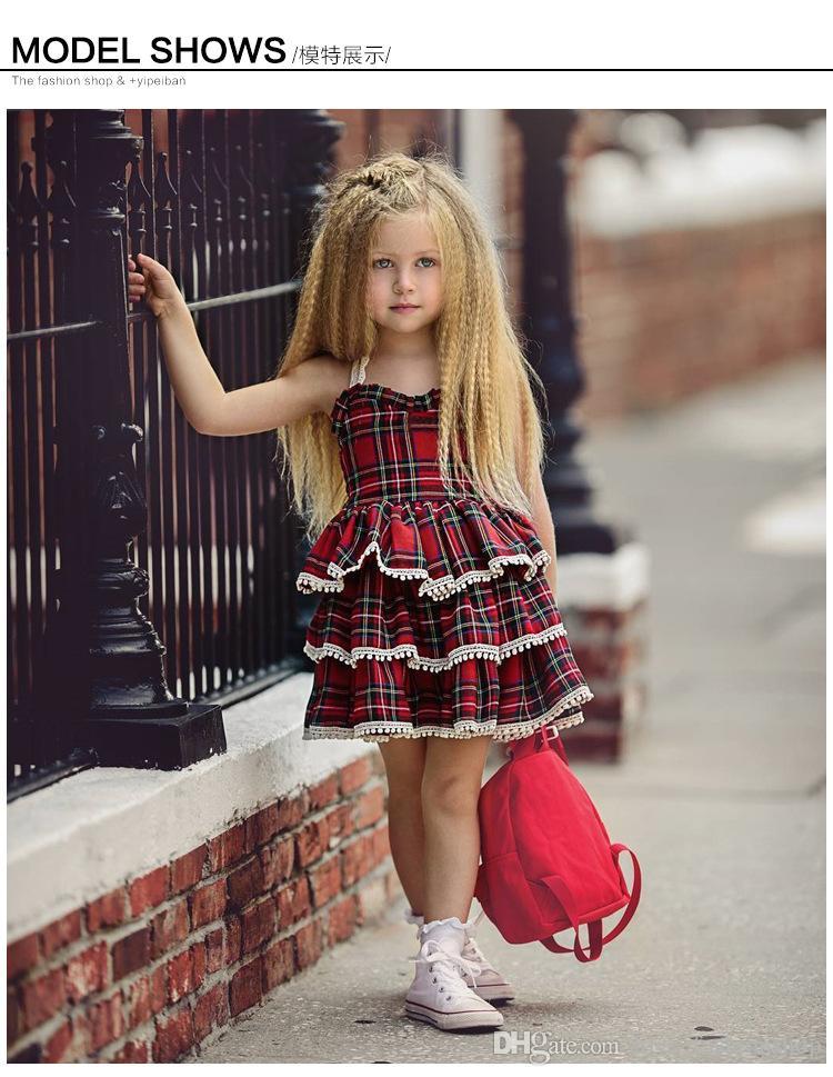 Retail Baby Girls Lace Suspendere Plaid Princess Dress Infant Back Open Fluffy Cake Kjol Kids Designer Kläder Halloween Cosplay Kläder