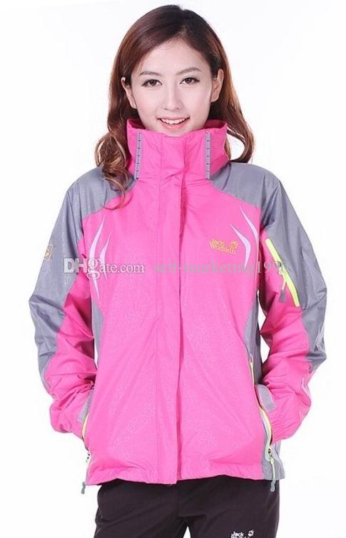 En Sıcak Satış Moda Kadınlar Kış Açık Sıcak Rüzgar Geçirmez Su Geçirmez Yürüyüş Ceketler, Yeni 2in1 Çıkarılabilir Şapka Leopar Baskı Flaş Ceketler Coats