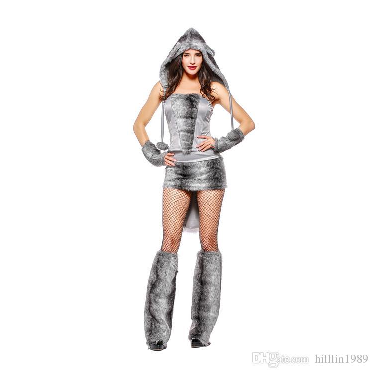 Karneval Grau Timber Wolf Kostüm Sexy Weihnachten Plüsch Outfits Halloween Weiblichen Tier Cosplay Uniform Frauen Bühne Party Thema Kostüm
