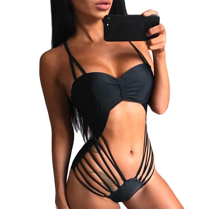 2020 del vendaje atractivo del Bandeau Trikini de tiras de la nadada del bañador High Cut Monokini del traje de baño de la correa de las mujeres del traje de baño de una pieza