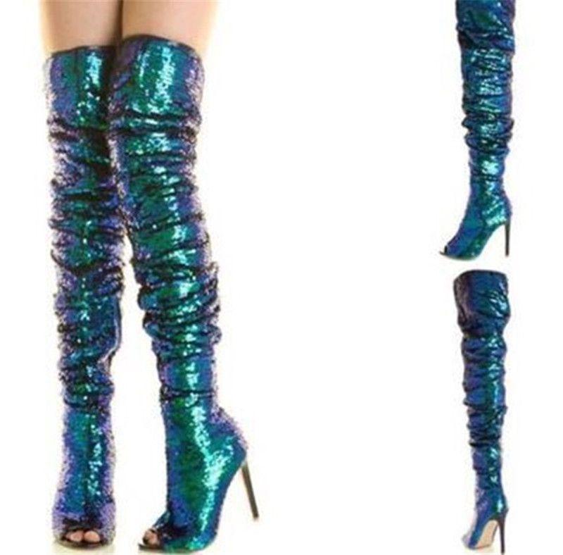 Модные блестящие павлин зеленые блестки над коленами бедра ботинки Bling Beeties Stiletto High каблуки Shinner Paillette длинные сексуальные вечерние ботас
