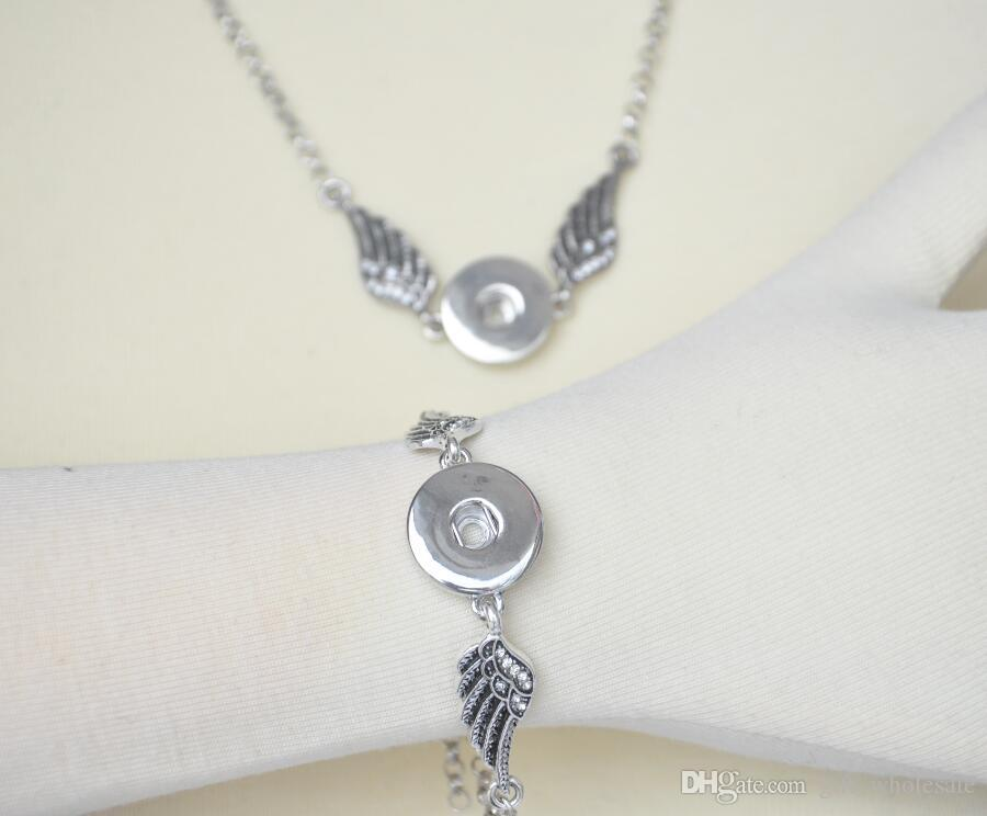 New Crystal Angel wings Bracelets Bangles Necklace Set Antique Silver DIY Ginger Snaps Button Jewelry Set