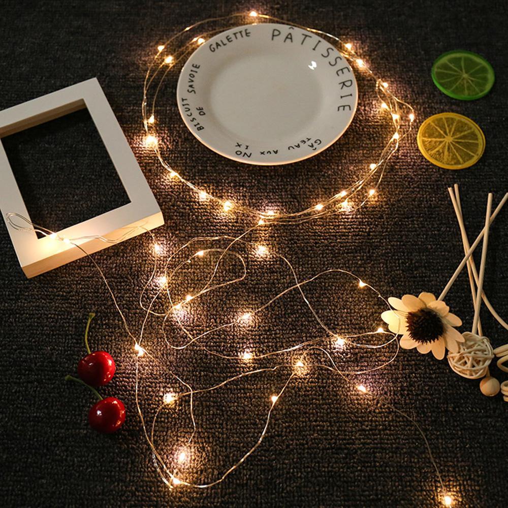 1 pcs 2 M 5 M 10 M Fio de Cobre de Prata CONDUZIU as luzes da corda À prova d 'água iluminação do feriado Para A Árvore de Natal Decoração de Festa de Casamento