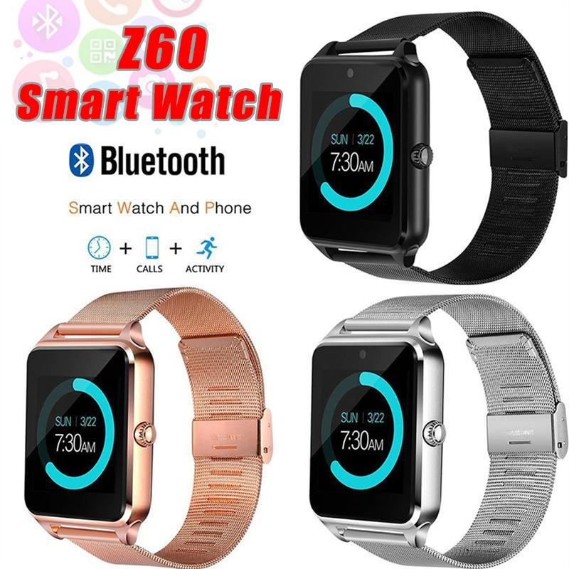 Bluetooth Smart Watch d'Z60 montre Smart Watch Smart Wireless en acier inoxydable Montres TF de soutien carte SIM pour Android IOS Avec Retail Package