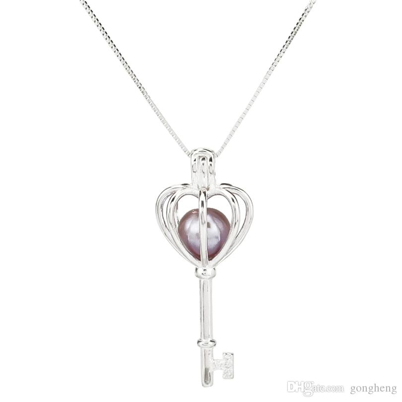 925 Sterling Silver Pick a Pearl Cage Key Ball Locket Pendant Necklace Boutique Lady Gift K980