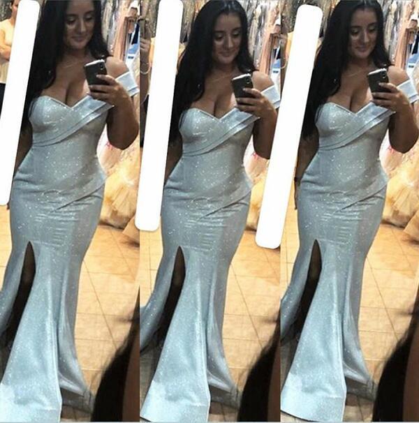 Вечернее платье Длинное платье Bateau Белый с разрезом сбоку