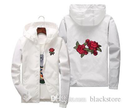 Rose Jacket Windbreaker Men And Women &#039 ;S Jacket New Fashion White And Black Roses Outwear Coat