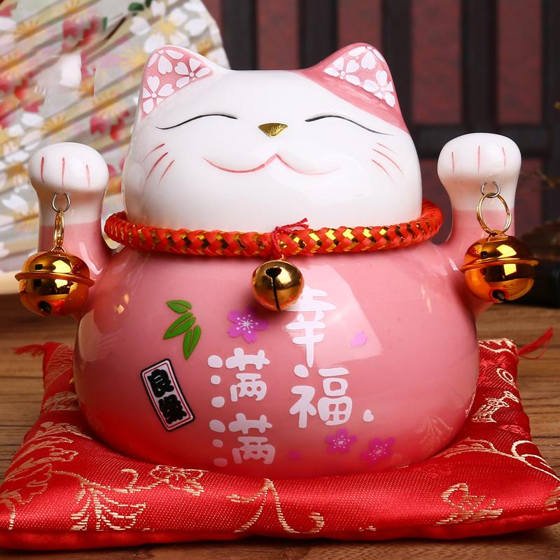 4.5 inç Maneki Neko Porselen Şanslı Kedi Ev Dekor Süsler Servet Kedi Para Kutusu Fengshui Craft 6 Renkler ücretsiz kargo