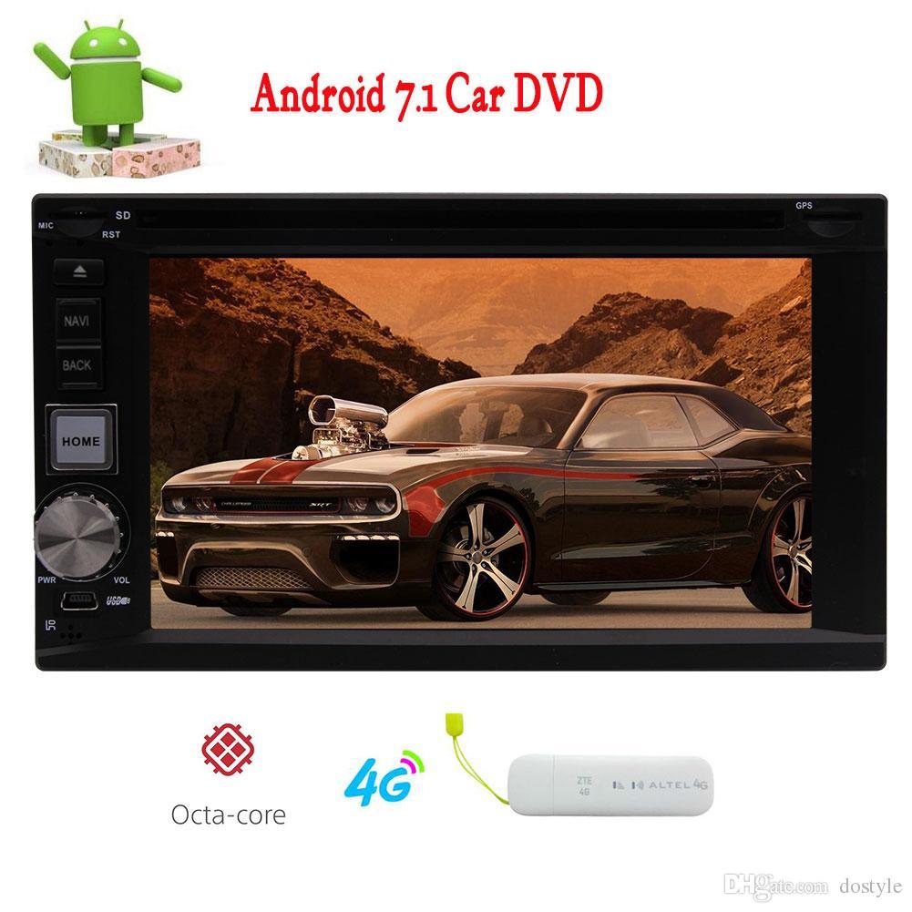 Android 7.1 Radio estéreo para coche Sistema estéreo 6.2 '' Doble 2din en el Tablero Reproductor de video para automóvil DVD para el automóvil Navegador Bluetooth sin manos Navegación GPS
