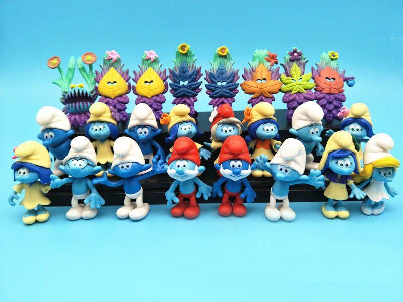 24pcs Set Smurfs 잃어버린 마을 엘프 아빠 스머 페트 서투른 액션 피규어 미스터리 마스크 케이크 토퍼 플레이 세트 장난감