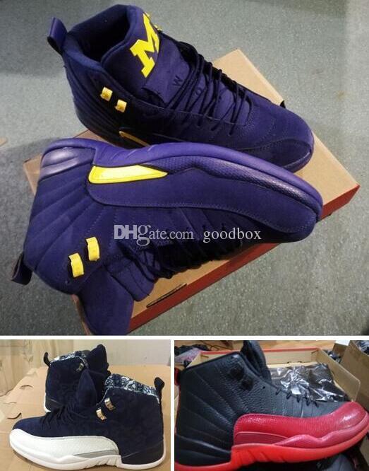 Michigan 12S Internacional 12 s 2018 Novo GS Baron Lobo Cinza 12 s com caixa Atacado Sapatos de Basquete Men tamanho frete grátis