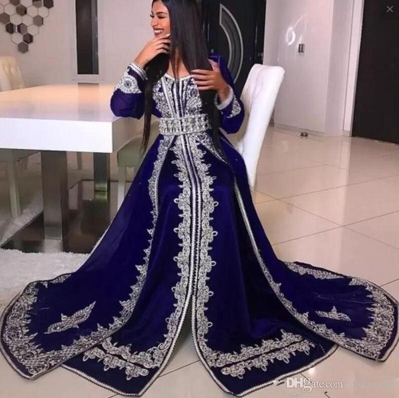 Arabia Saudita Mangas largas Vestidos de noche con fajas de cuentas Lentejuelas Apliques de encaje Vestido de fiesta batas de fiesta Volver Cremallera Vestido de fiesta para mujer