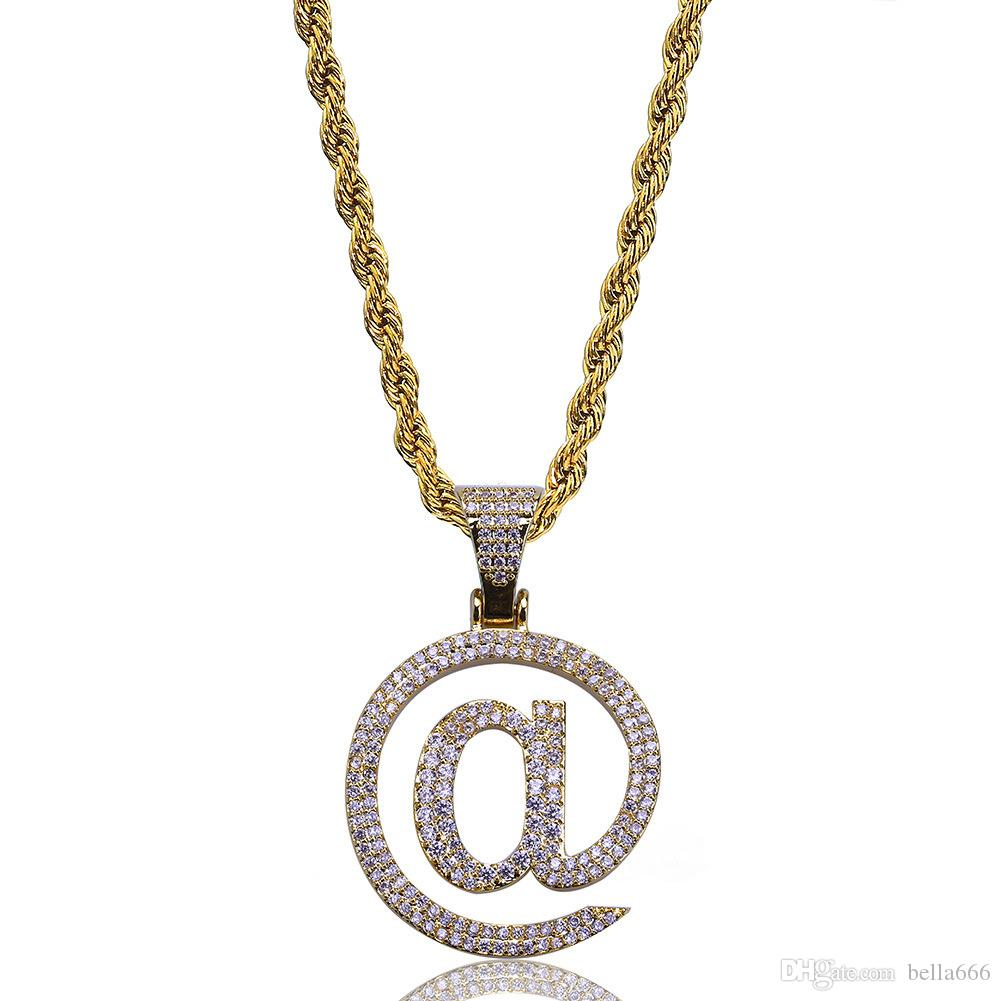 Men and Women Hiphop @ Letter Symbol Pendant Necklace Gold Silver Color Iced Out Cubic Zirconia Stone Necklaces With Rope Chian Jewelry
