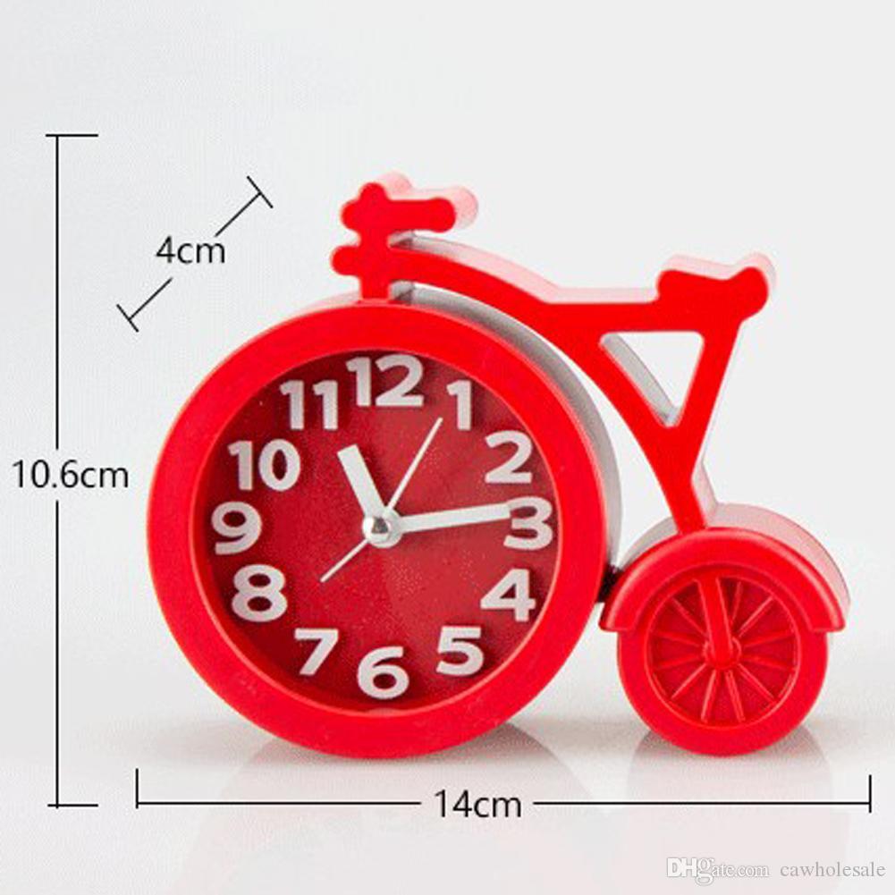 1 pcs Mini Mute Alarm Clock Bicycle Clocks Battery Bedside Desk Decor Gift (6 color options)