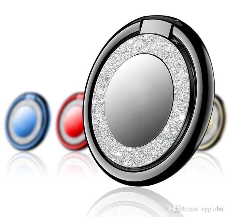 10pcs Creative Bright 360° Rotatable Shape Ultra-Thin Metal Finger Ring Holder Bracket Mobile Phone Tablet PC Free Shipping