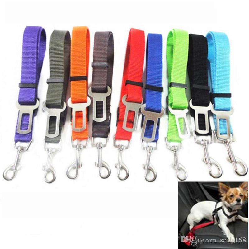 كلب مقعد سلامة السيارة حزام قابل للسحب النايلون الحيوانات جرو الكلب المقود المقاود تسخير السيارة حزام آمن 10 ألوان dhl سفينة HH7-1771