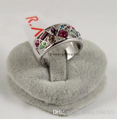 Brilliant multicoloured topaz women's ring size:7-9