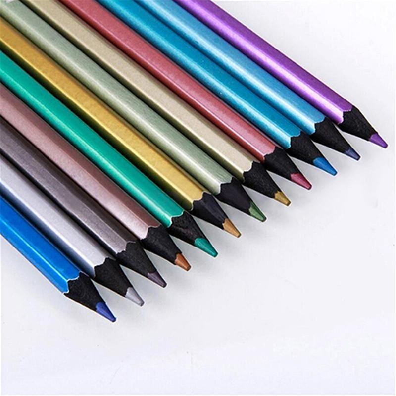 Lápices de dibujo metálicos no tóxicos Dibujo Sketching Cera de colores de cera más finos 12 colores Dibujo Pastel al por mayor P15