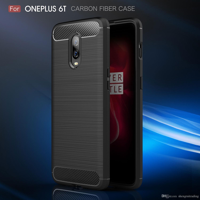 Nuovo business case per uno più cinque sei 5T 6T in fibra di carbonio spazzolato copertura posteriore del telefono TPU per Oneplus 5 6 5T 6T
