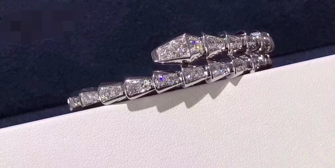 العلامة التجارية تصميم فضة مايكرو تمهيد زركون للتعديل الشرير الأفعى الإسورة سوار للنساء مجوهرات