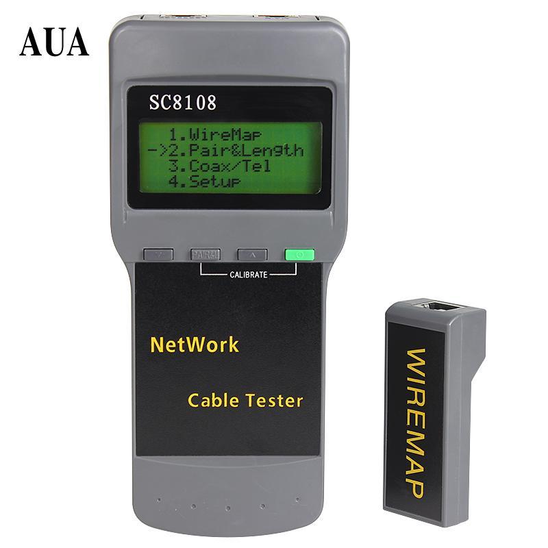 شحن مجاني Sc8108 lcd بيانات الكمبيوتر الرقمية شبكة الهاتف المحمولة متعددة الوظائف اللاسلكية cat5e rj45 lan طول الكابل تستر متر