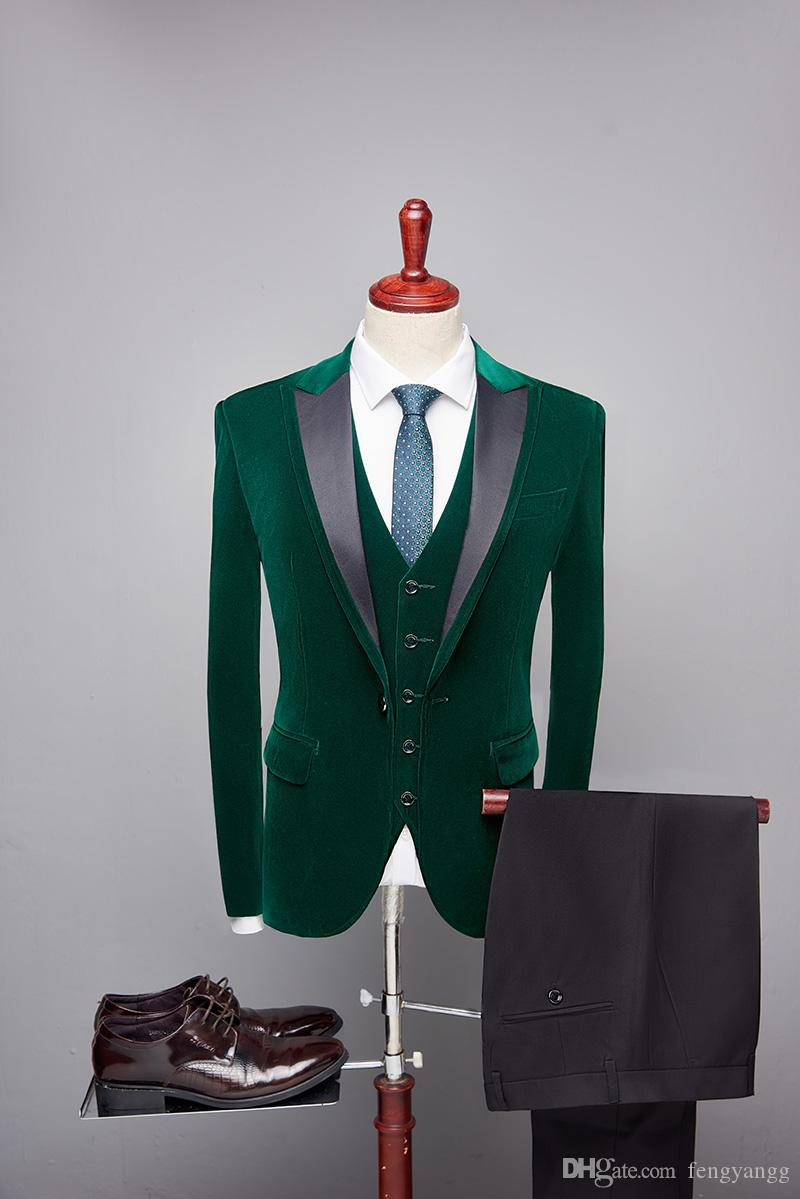 Fashion Mens Suit One Button Slim Fit 3 Pieces Suit (Men Blazer+Vest+Pants) Groom Tuxedos for Wedding Green Suit Velvet Custom Made