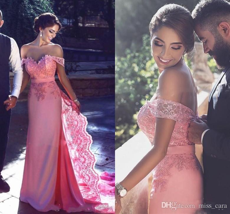 Elegant Mermaid Water Melon Prom Dresses Long Applique Off Shoulder Short Sleeve Formal Party Dress Evening Wear Cheap