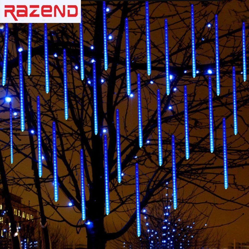 Led Outdoor Christmas Lights.50cm Meteor Shower Rain Tube Led Christmas Light Wedding Garden Xmas String Light Outdoor Holiday Lighting 100 240v String Outdoor Lights Outdoor