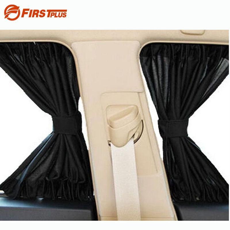2 x Atualizar 70S Liga de Alumínio Elastic Car Side Janela Sombrinha Cortinas Auto Windows Sun Viseira Blinds Capa - Preto Bege Cinza
