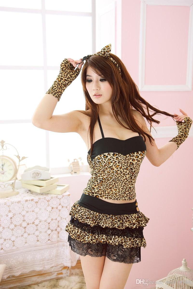 Free Shipping New sexy lingerie cosplay Multi-piece sling erotic lingerie wild sexy lace-up waist dewdrop leopard-print cake skirt