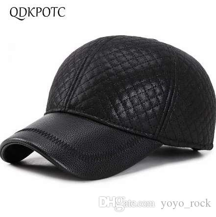 QDKPOTC 2018Autumn Winter Fashion PU Black Baseball Caps Hats For Men Leather Cap Ear Protection Keep Warm Trucker Cap Casquett