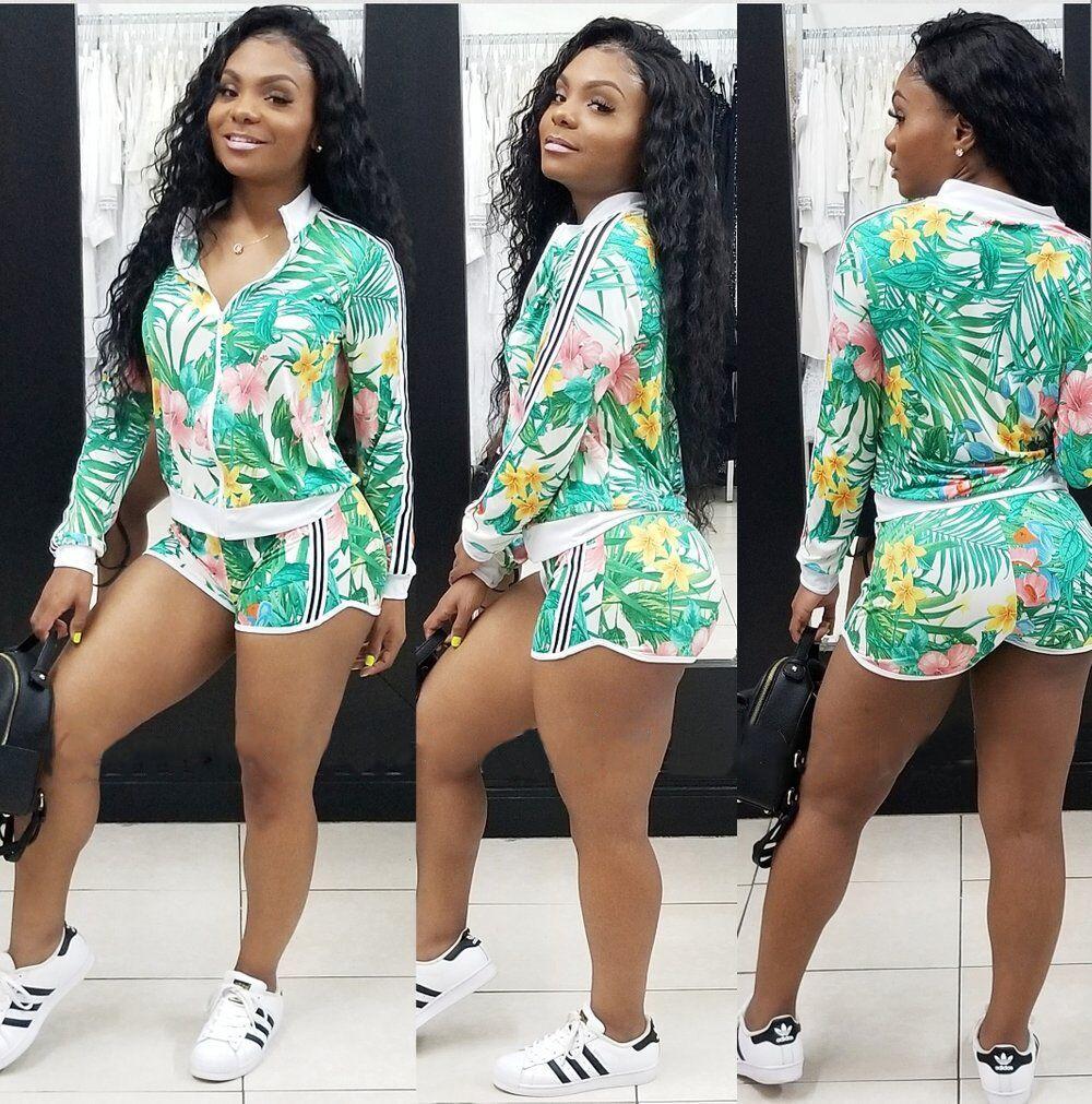 Mulheres florais fatos de treino 2 pc jaqueta hot pant ternos zipper impresso mangas compridas elástico listras casual sports two piece outfits roupas de outono