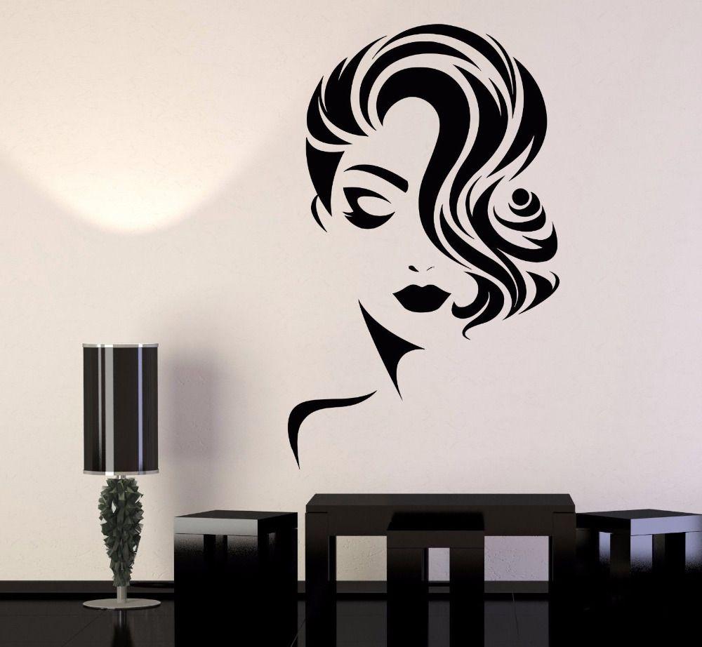 Cara da menina Decalque removível Wallpapers para Beauty Salon decoração da parede quarto Barbershop parede vinil adesivo